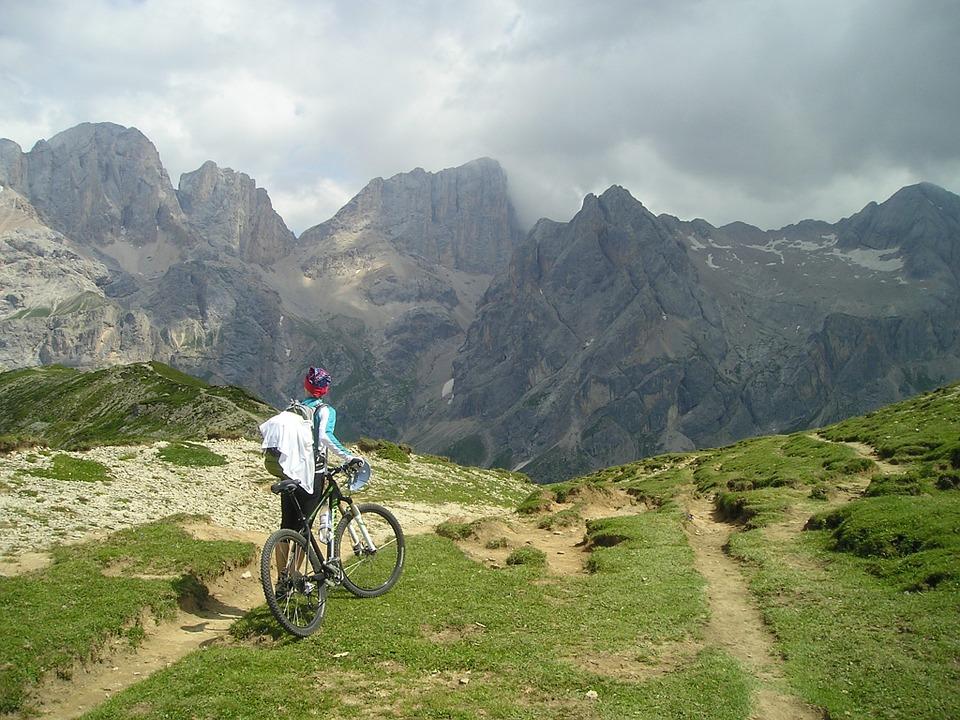 Free photo Mountain Bike Transalp Marmolada South Wall Bike.