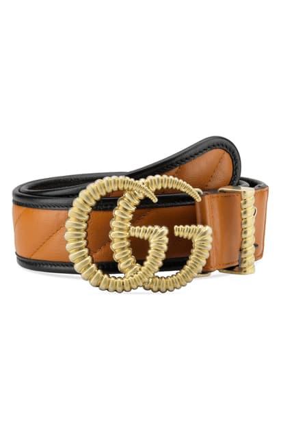 Gg Marmont Logo Buckle Matelasse Leather Belt In Cognac/ Nero.