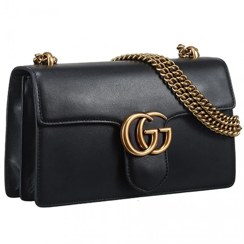 Gucci GG Marmont Logo Buckle Amazing Black Leather Chain Strap Shoulder Bag  With Zipper Purse.