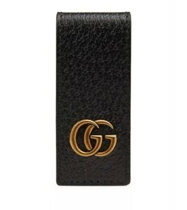 Details about GUCCI LUXURY BLACK LEATHER MONEY CLIP DOUBLE GG MARMONT LOGO  MONEY CLIP NEW.
