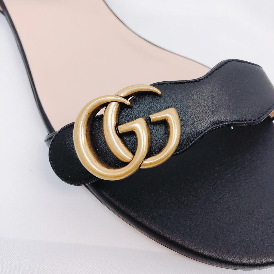 Gucci Black Marmont Gg Logo Embellished Leather Sandals Size EU 40 (Approx.  US 10) Regular (M, B).