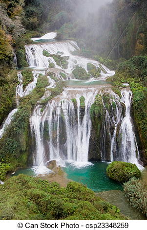 Stock Images of Marmore waterfalls, Italy.