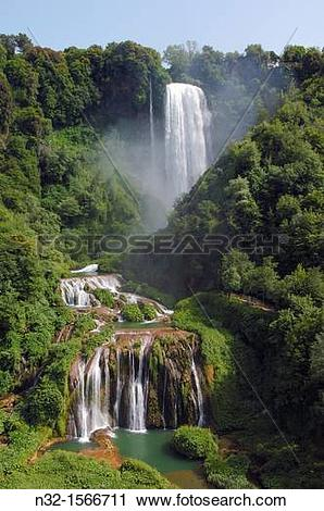 Stock Photography of Marmore waterfalls, Cascata delle Marmore.