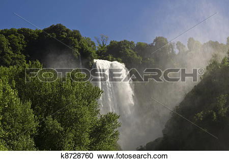 Stock Photography of Landscape of cascade of Marmore Terni Umbria.