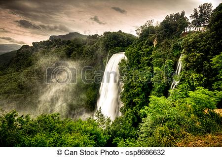 Stock Photo of Marmore waterfalls (Cascate delle Marmore), Umbria.
