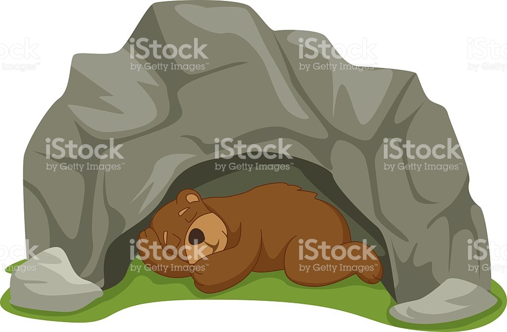 Vector Illustration Of Cartoon Sleeping Bear In Cave stock vector.