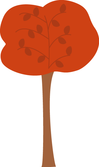 Pretty Maroon Autumn Tree Clip Art.