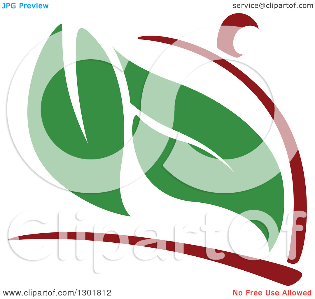 Clipart of a Maroon Cloche Platter and Green Leaves Vegetarian.