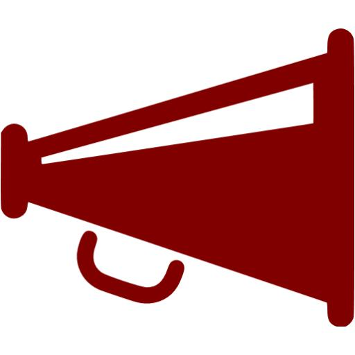 Maroon megaphone icon.