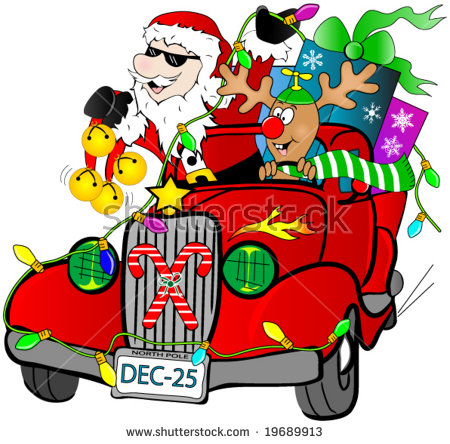 Santa And Rudolf In A Hot Rod Car With Gifts. Stock Vector.