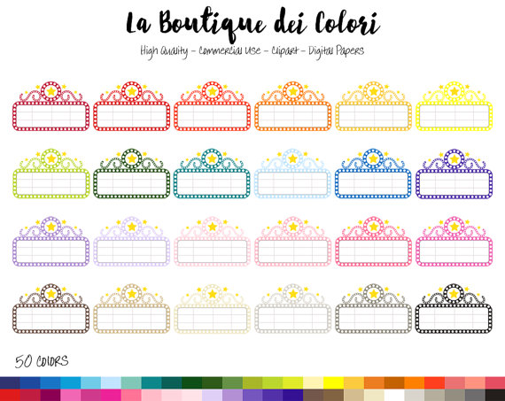 50 Rainbow Movie Marquee Clipart Cute by LaBoutiqueDeiColori.