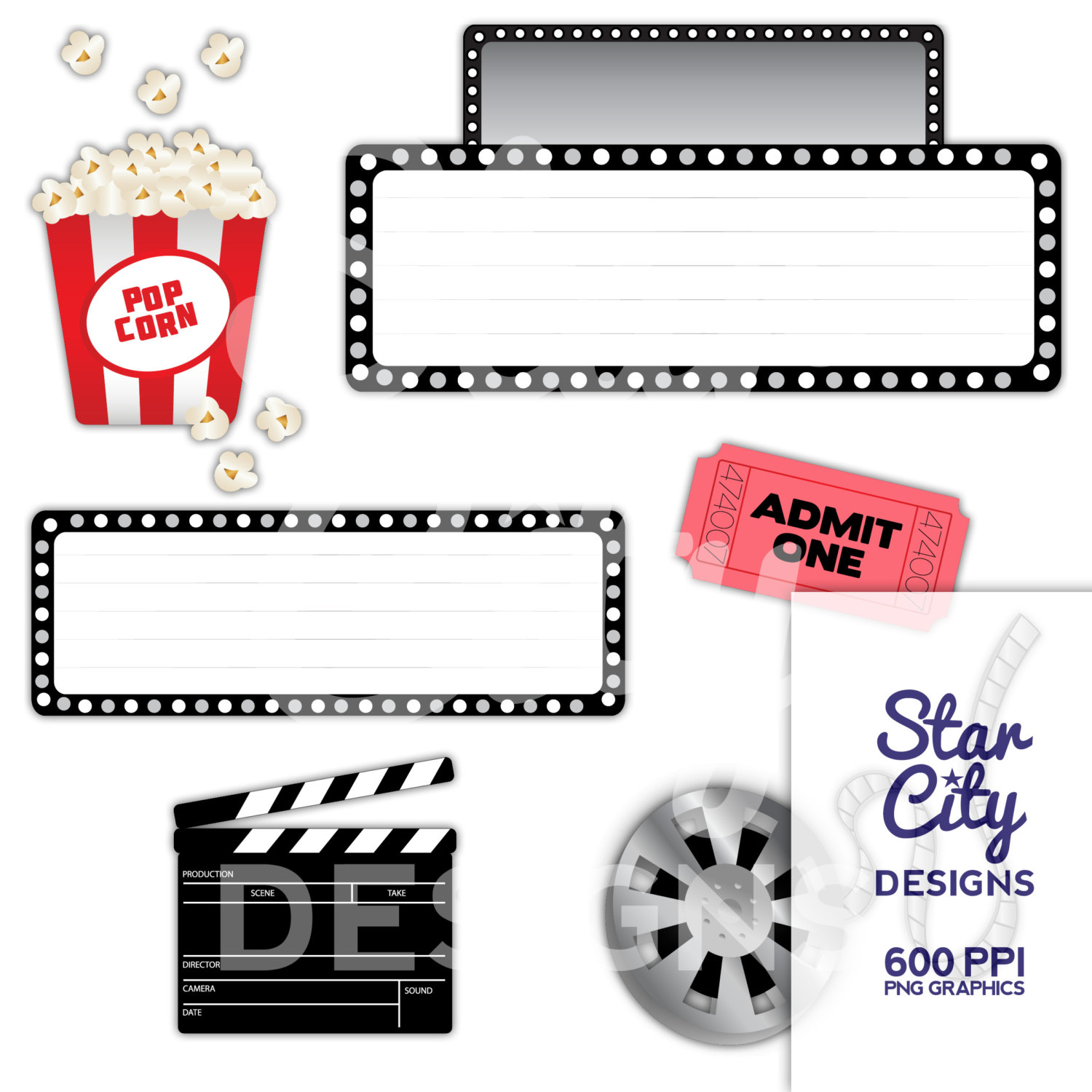 Movie Clip Art marquee clipart popcorn clipart by StarCityDesigns.