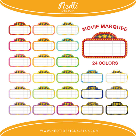 24 Movie Marquee Clipart Colorful Rainbow Color by NedtiDesigns.