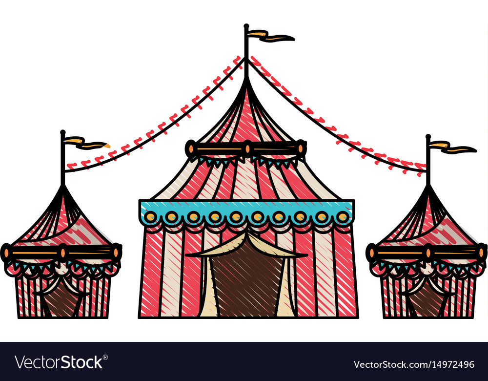 Striped strolling circus marquee tent with flag.