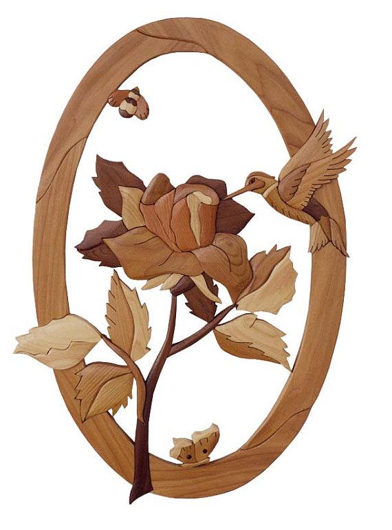 Marqueterie bois MOTIF Rose et scène de par GielishWoodSculpture.
