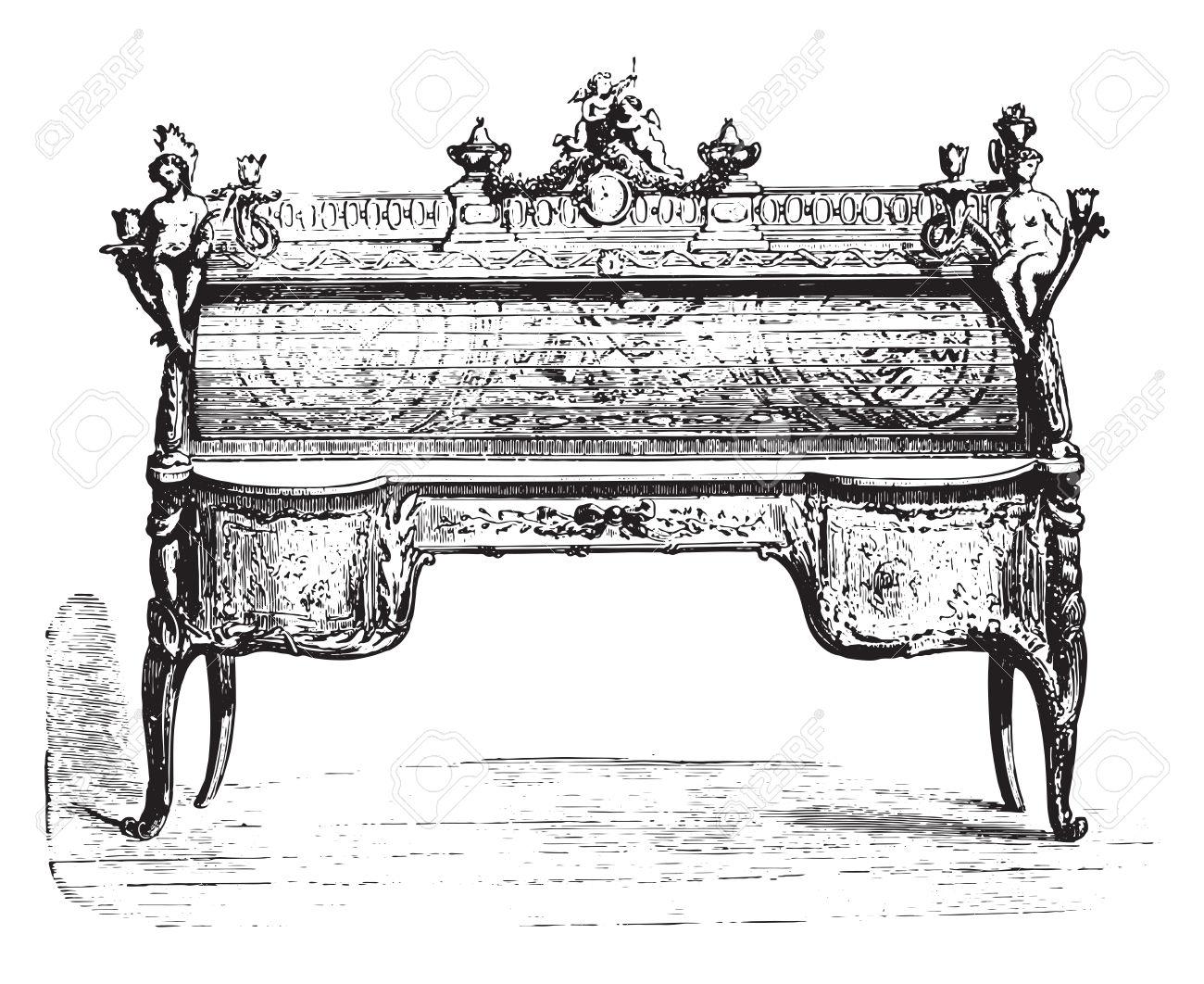 Bureau Cylindre Marqueterie Louis XV (Louvre), Millésime Gravé.