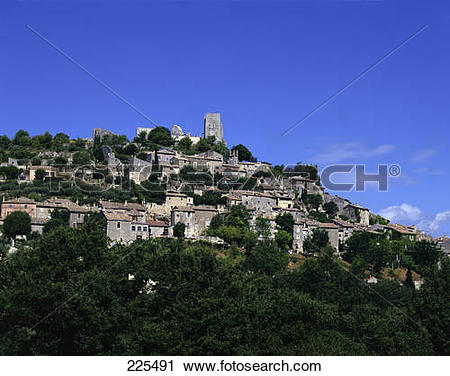 Stock Photography of Buildings on hill, Chateau des Marquis de.
