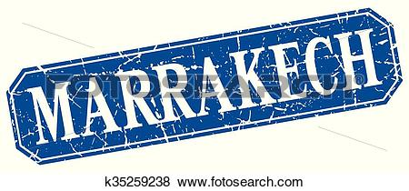 Clip Art of Marrakech blue square grunge retro style sign.