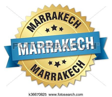 Clipart of Marrakech round golden badge with blue ribbon k36670825.