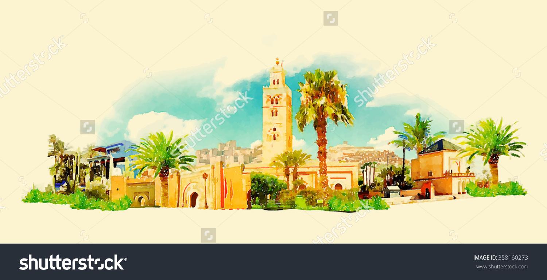 Vector Watercolor Marrakech City Illustration Stock Vector.
