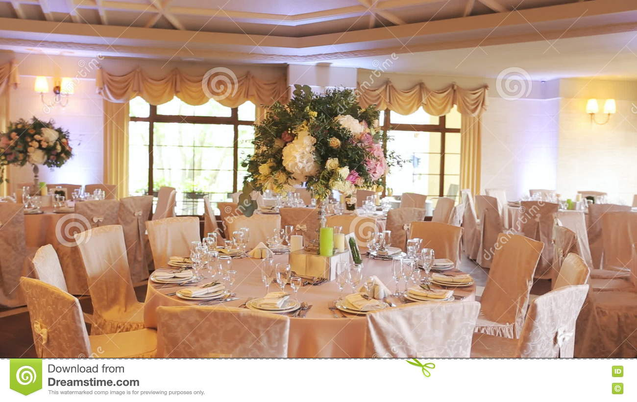 Interior Of A Wedding Hall Decoration Ready For Guests.Beautiful.