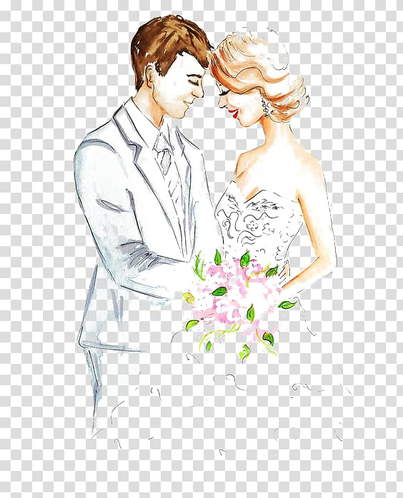 Bride and groom illustration, Marriage Drawing Engagement.