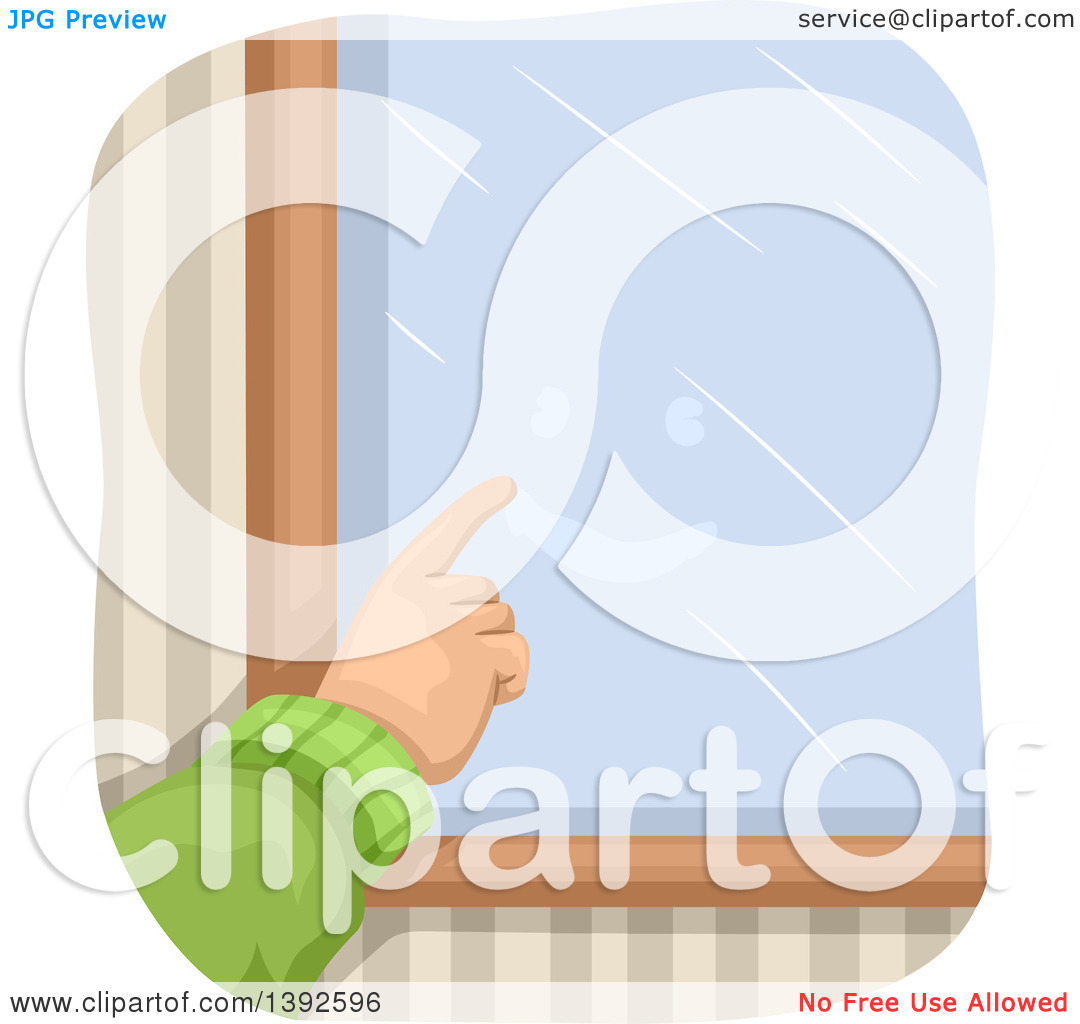 Clipart of a Hand Drawing a Happy Face on a Foggy Window.