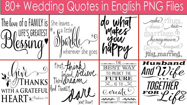 80+ Wedding Quotes in English PNG Files Free Download.