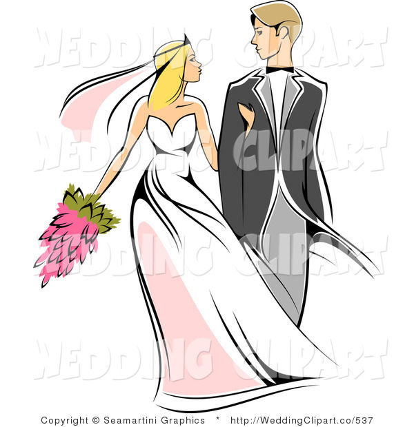Vector Marriage Clipart of a Wedding Newlywed Couple by Vector.