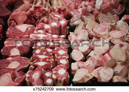 Stock Photograph of Raw marrow bone and oxtail x75242709.