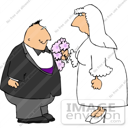 Middle Aged Caucasian Couple Getting Married Clipart.