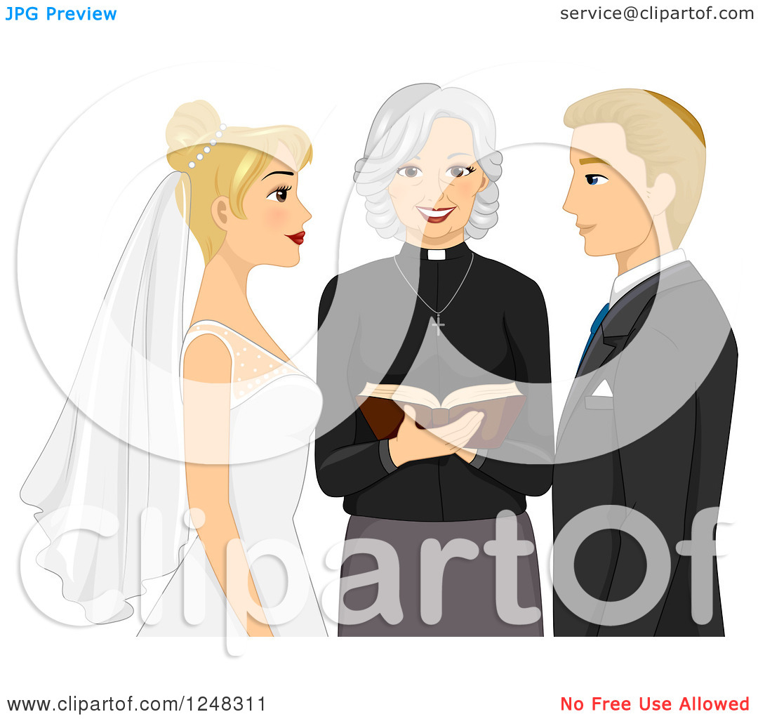 Clipart of a Clergy Woman Marrying a Blond Caucasian Couple.