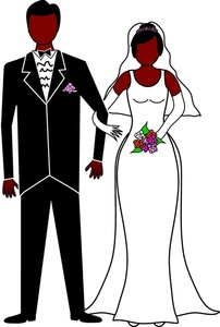 Wedding man and woman clipart.