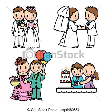 Vector Clip Art of Couple illust set.