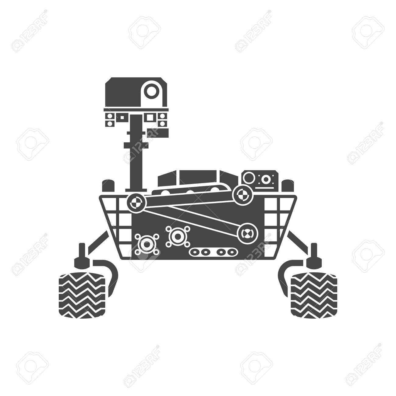 Mars Rover, Silhouette, Vector Illustration, Isolated On White.