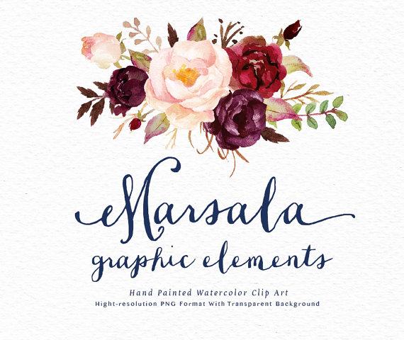 Marsala Flowers Clipart.