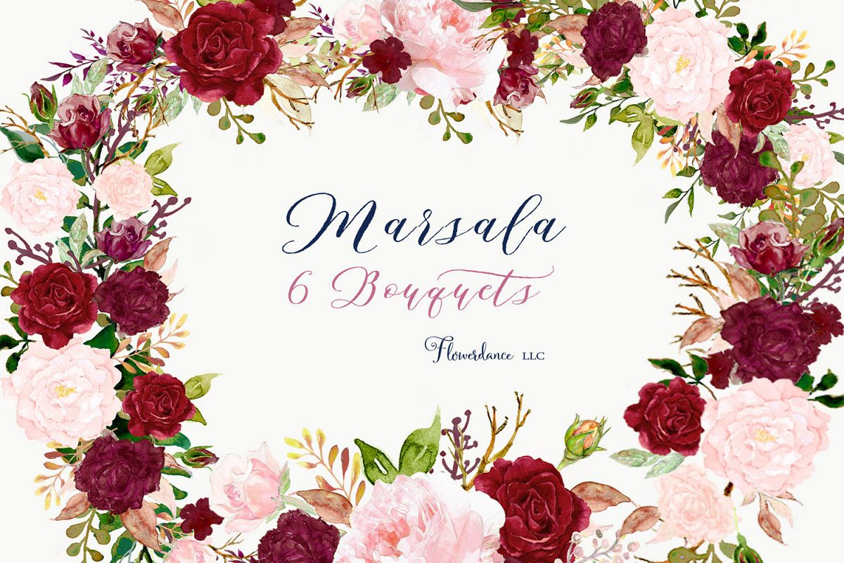 Watercolor Clipart Floral Bouquets Pink and Marsala.