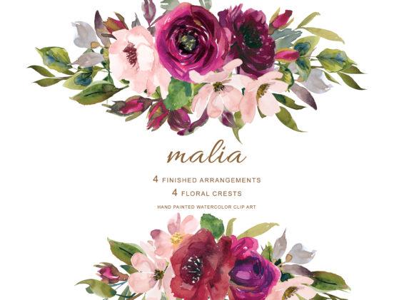 Marsala & Blush Flowers Clipart.