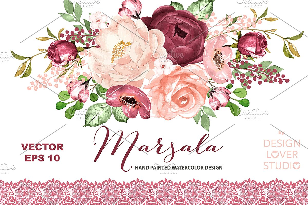 Vector watercolor Marsala design.