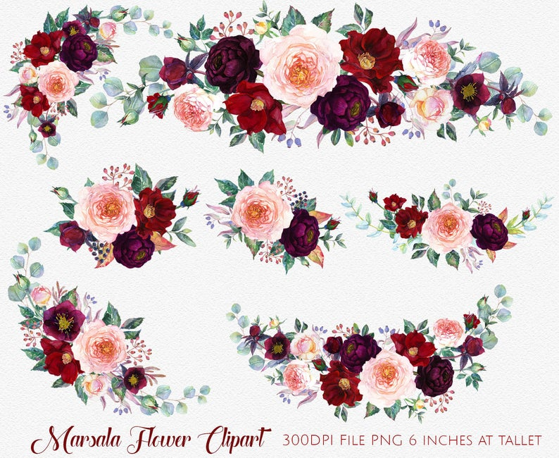 Marsala Clipart,Boho Bordo Watercolor Clipart Burgundy White Red  Flowers,Wedding Clipart Floral Bouquets Wreaths Sprays PNG flower.
