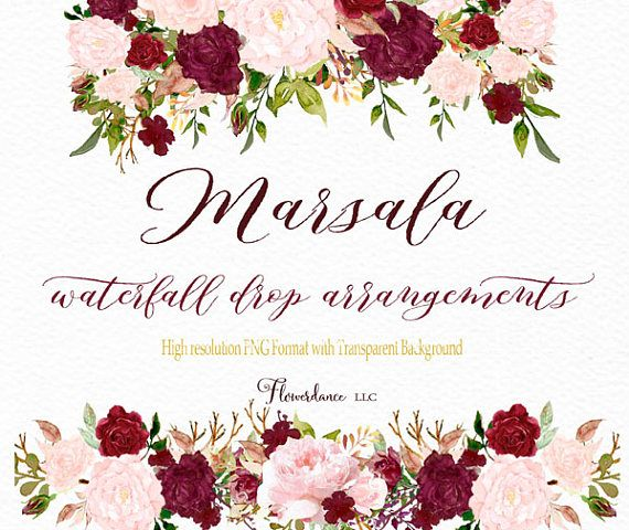 Marsala and blush watercolor clipart drop header arrangement.