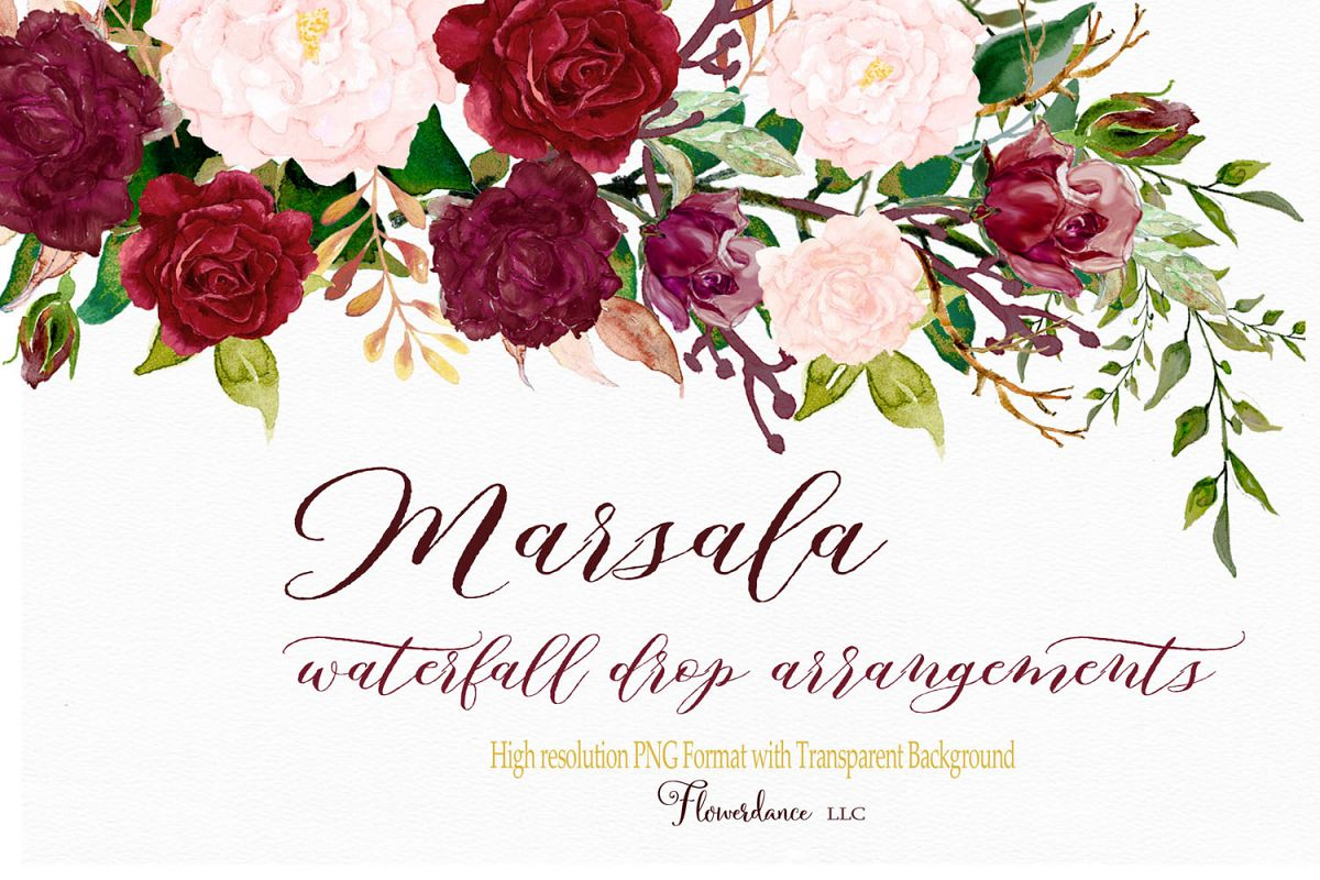 Watercolor Clipart Marsala and Blush Floral Drop Arrangement.