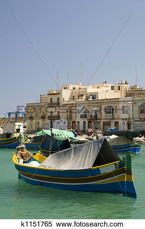 Stock Image of Marsaxlokk ancient fishing village malta.