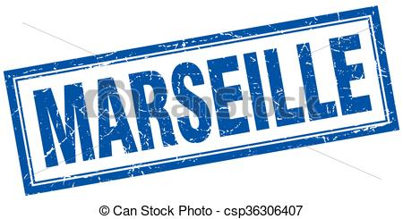 Vector Clipart of Marseille blue square grunge stamp on white.