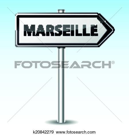 Clip Art of Vector marseille directional sign k20842279.