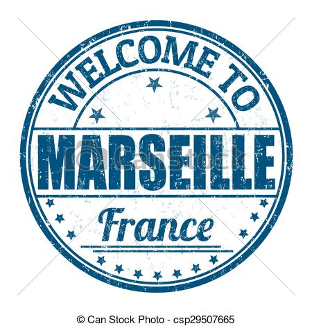 Clip Art Vector of Welcome to Marseille stamp.