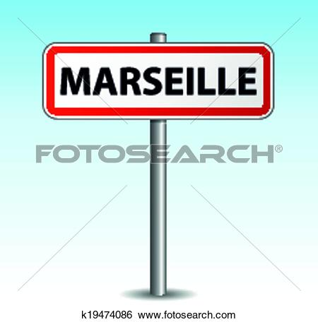 Clip Art of Vector marseille signpost k19474086.