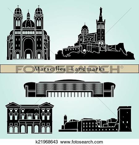 Clipart of Marseilles landmarks and monuments k21968643.