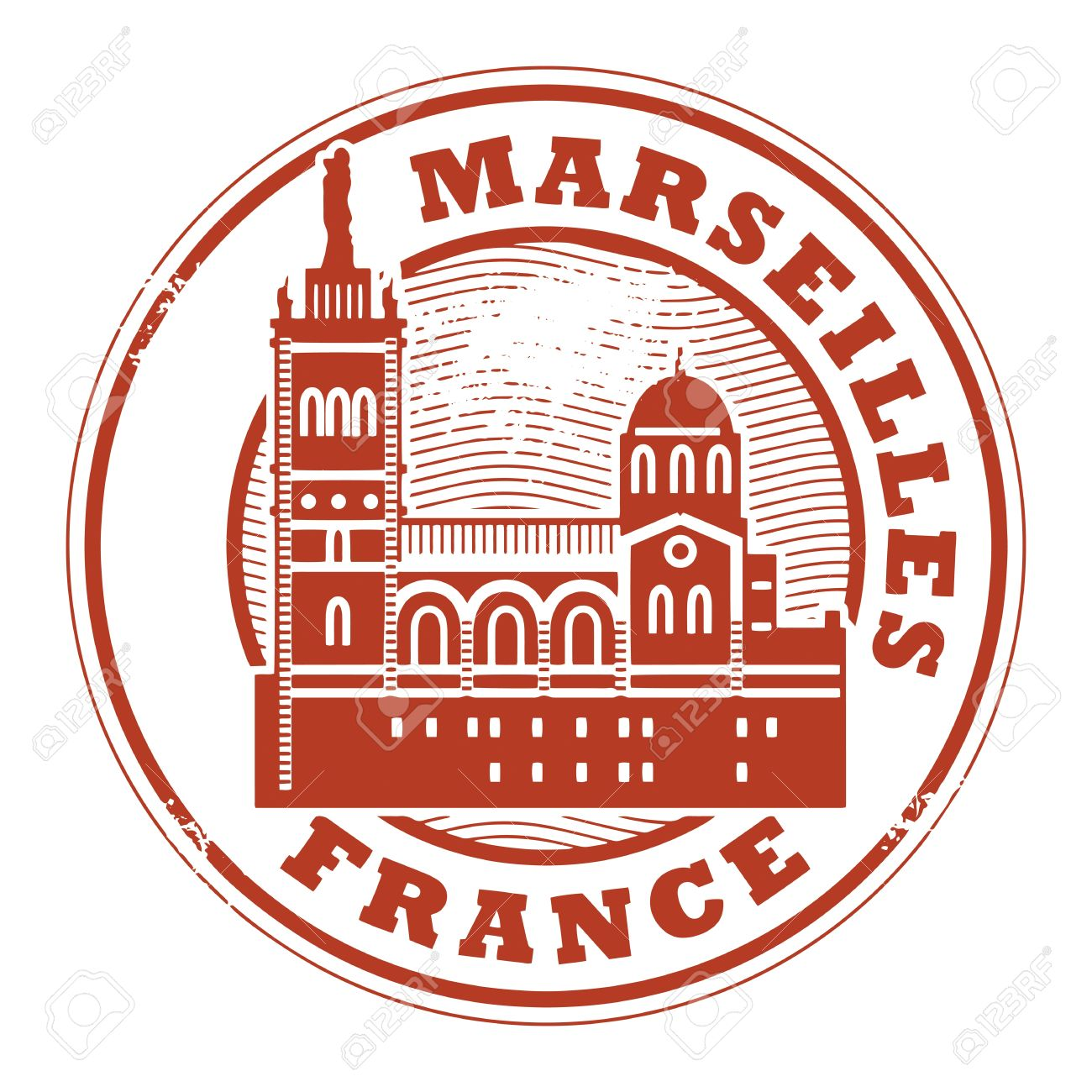 Grunge Rubber Stamp With Words Marseilles, France Inside Royalty.