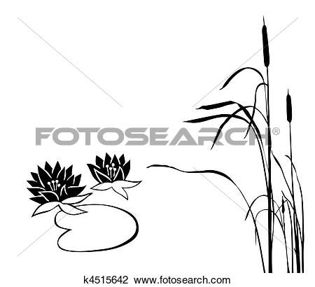 Clipart of vector silhouette of the marsh plants on white.
